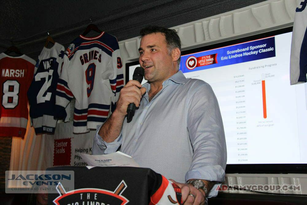 Former All Star Eric Lindros at the Eric Lindros Hockey Classic charity event