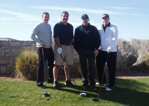 Andrew Jackson (left) with golfers and Wendel Clark (second from right)