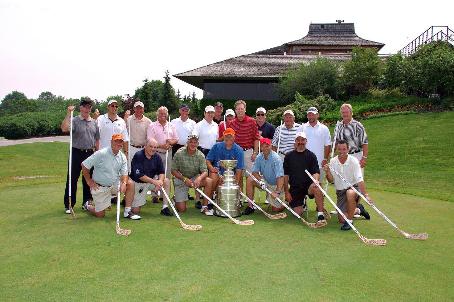 A team with signed memorabilia sticks